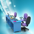 Workplace with computer in color background Royalty Free Stock Photo