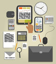 Workplace office and business work elements set mobile devices documents Royalty Free Stock Images