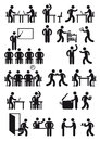 Workplace people silhouettes black on white of doing a variety of tasks or work at the office or Royalty Free Stock Photos