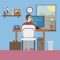 Workplace room with programmer and website code in flat design style Royalty Free Stock Images
