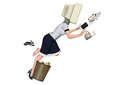 Workplace safety careless worker illustration a office lady accidentally kicked on a bin and fell Stock Image