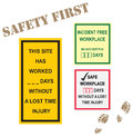Workplace safety signs incident free time lost time injury days Stock Photography