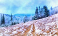 The works in the style of watercolor painting. Winter landscape