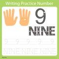 Worksheet Writing practice number nine Royalty Free Stock Photo
