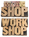 Workshop word in wood type Stock Images
