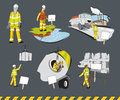Worksite safety at the workplace illustrations Royalty Free Stock Image