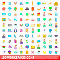 100 workspace icons set, cartoon style