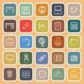 Workspace line flat icons on orange background