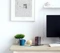 Workspace oggetti sulla tabella Fotografia Stock