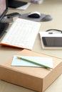 Workspace oggetti sulla tabella Immagine Stock Libera da Diritti