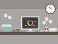 Workstation desk with marketing data vector Stock Photography