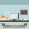 Workstation with stationary and cup of coffee vector Royalty Free Stock Image