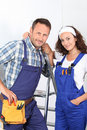 Workteam in overalls Stock Image