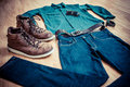 Workwear clothing stylish clothes for men Royalty Free Stock Images
