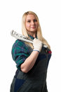 Workwoman with a big wrench Royalty Free Stock Photo