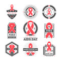 World aids and cancer day label set