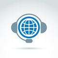 World on the air, call center, information collecting and exchance Royalty Free Stock Photo
