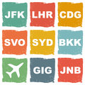 World airports icons set Royalty Free Stock Images
