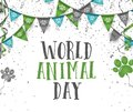 World animal day 4 october bunting party flags with dog animal p