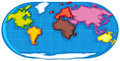 World atlas with seven continents Royalty Free Stock Photo
