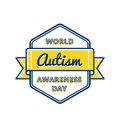 World Autism Awareness day greeting emblem