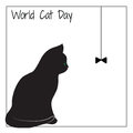 World cat day. The silhouette of a cat