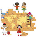 World children build the on a wall Royalty Free Stock Photography