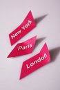 World cities main capitals paris new york and london Stock Photography
