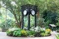World clock near orchid garden in Singapore Botanic Gardens