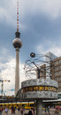 World clock tv tower alexanderplatz berlin the time and the fernsehturm in with the time of many cities around the downtown Stock Image
