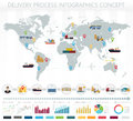 World concept of logistics delivery shipping freight service infographics. Royalty Free Stock Photo