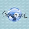 World connect vector background with the illustration of earth and the word Stock Photo