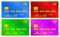 World credit cards blue green purple and red with map vector illustration Royalty Free Stock Photos