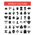 World culture illustration, thin line icons, linear flat signs, vector symbol Royalty Free Stock Photo
