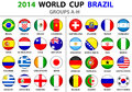 World cup brazil all nations vector flags groups a to h groups circle round designs used shadows carefully designed you can use Stock Photos
