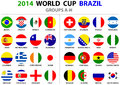 World cup brazil all nations vector flags groups a to h groups d circle designs carefully designed Stock Image