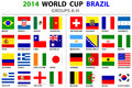 World cup brazil all nations vector flags groups a to h groups d square designs carefully designed Stock Images