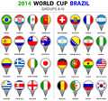 World cup brazil all nations vector flags groups a to h groups flag pointer designs circle used shadows carefully designed you can Royalty Free Stock Photos