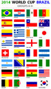 World cup brazil all nations vector flags groups a to h groups original designs carefully designed Stock Photos