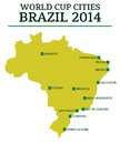 World cup cities brazil map of the host where matches are played for the of football in Royalty Free Stock Photo
