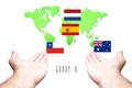 World Cup 2014 Group-B Flag with Hand and World Map background Royalty Free Stock Photo
