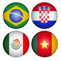 World cup group a brazil flags on soccer balls Royalty Free Stock Photos