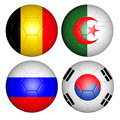 World cup group h brazil flags on soccer balls Royalty Free Stock Images