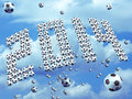 World cup group of soccer ball form the year on blue sky this is an illustration specially design for Royalty Free Stock Image