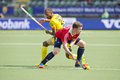 World Cup Hockey: England vs India Royalty Free Stock Photo