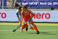 World cup hockey netherlands argentina the hague june field player constantijn jonker ned leads the ball in front of mathias rey Stock Images