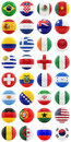 World cup render of footballs with flags of all the countries participating in the isolated on white Royalty Free Stock Photos