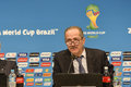 World cup rio de janeiro brazil july aldo rebelo sport minister joseph s blatter during press conference on the final balance of Royalty Free Stock Photo
