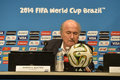 World cup rio de janeiro brazil july joseph s blatter during press conference on the final balance of the at maracana stadium Royalty Free Stock Photo