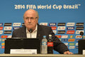 World cup rio de janeiro brazil july joseph s blatter during press conference on the final balance of the at maracana stadium Stock Photo